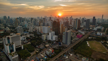 aerial view unseen skyscraper in heart of bangkok thailand capit
