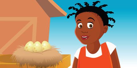 cartoon vector illustration of a farm with eggs