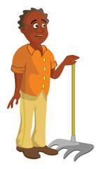cartoon vector illustration of a black farmer
