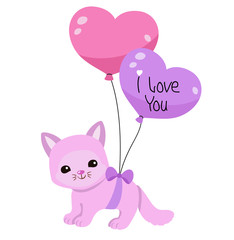 Greeting card. Cute kitten with balloons on a white background.