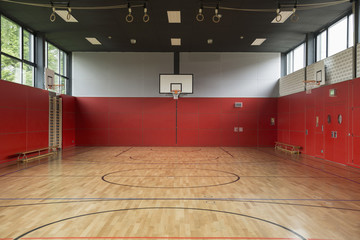 Interior view of basketball court in school