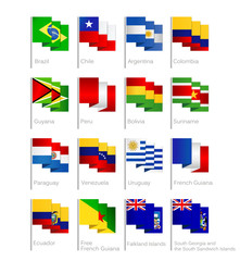 South America Flags Collection Flat Cartoon Style