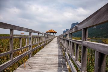 Wood bridge in Khao Sam Roi Yod National Park, Thailand.