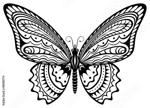 Vector illustration of a stylized, decorative black and white butterfly.
