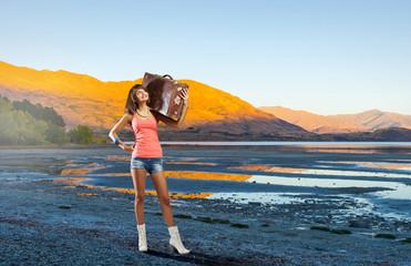 Young hitchhiking traveler