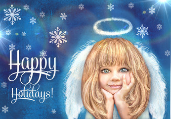 Cute little angel. Happy smiling angel girl with blond hair and white wings isolated on a grunge blue background with snowflake.