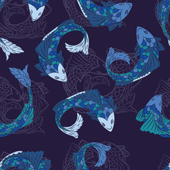 Seamless pattern with fish pattern