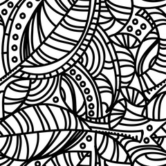Abstract organic composition with leaves and curved lines