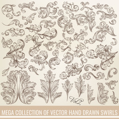 Collection of vector hand drawn flourishes in engraved style. Me
