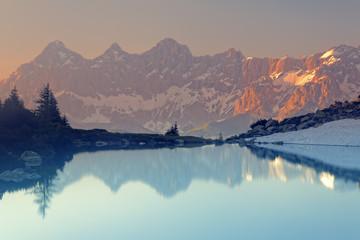 Lake Spiegelsee at dusk, Tauern, Styria, Austria