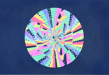 Abstract colorful circle. Curved lines, geometric shapes, dots, zigzag, Color wheel. Hypnosis, psychedelic.