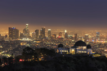 USA, California, Los Angeles, Skyline and Griffith Observatory in the evening