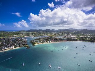Caribbean, St. Lucia, Rodney Bay, Cap Estate, aerial photo of Reduit Beach