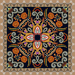 bandanna with a bright pattern, decorated with orange roses, foxglove flowers and curls on a dark background