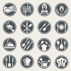 monochrome food and restaurant icon set