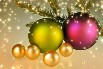 Christmas balls decoration background with lights