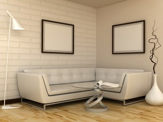 Empty picture frames in classic interior background on the brick wall with wooden floor. Copy space image. 3d render