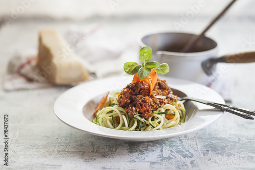 zoodles spaghetti made from zucchini with bolognese sauce stockfotos und lizenzfreie bilder. Black Bedroom Furniture Sets. Home Design Ideas