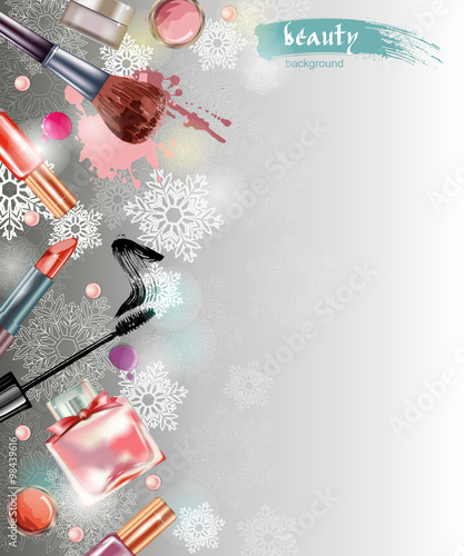 cosmetics and fashion christmas and new year background with a christmas tree made objects cosmetics template vector stock image and royalty free