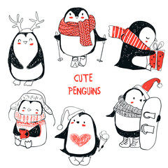 set with cute penguins