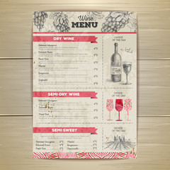 Vintage wine menu design. Document template