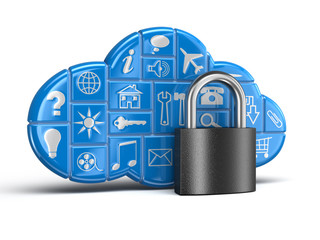 Cloud and lock. Image with clipping path.