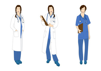 Medical Staff Woman Full Body Asian Color Vector Illustration
