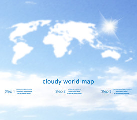 World map as clouds with the sky on the background