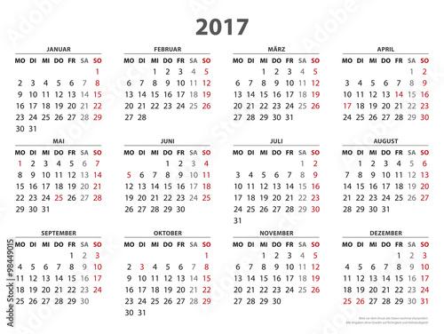 Jahreskalender 2017 Vorlage Längstformat Stock Image And