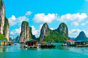 Floating village and rock islands, Halong bay, Vietnam
