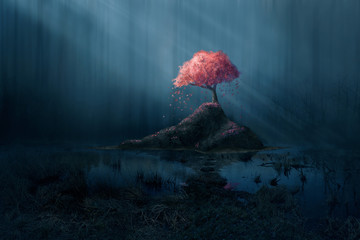 Pink tree in blue forest