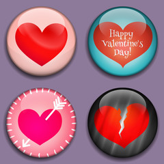 Red Hearts with place for pictures or text. Hearts buttons with shadows. Modern Flat style. Great for Valentine's Day, Mother's Day, scrapbook, photo album. Vector icons, badges.