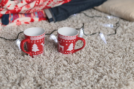 holiday photo, Christmas details. cup with Christmas ornament