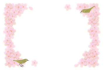 桜とメジロ フレーム