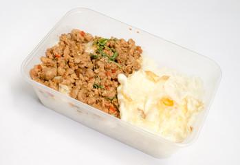 Thai spicy food basil pork fried rice recipe (Krapao moo)