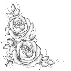 Stem with dotted rose flower and leaves isolated on white background. Floral elements in dotwork style.