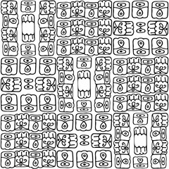 Seamless black and white pattern in the style of zentangle, consists of squares with ornaments, handmade, abstract
