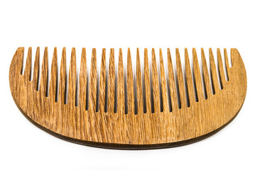 Wood comb on white background.