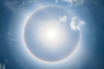 Beautiful sun halo phenomenon in thailand.