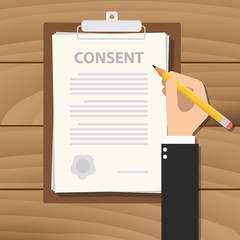 consent information sign document paper clipboard