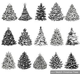 Set of Dreawn Christmas Trees.