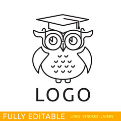 Owl. Template of logo. Line flat design of education logo. Modern vector logo concept. Fully editable outlines, saved lines and layers.
