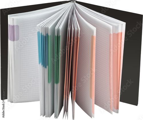 Opened Notebook With Blank Multicolored Pages Stock Photo And