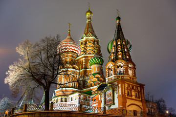 Wall Mural - St. Basil's Cathedral, night, Moscow, Russia