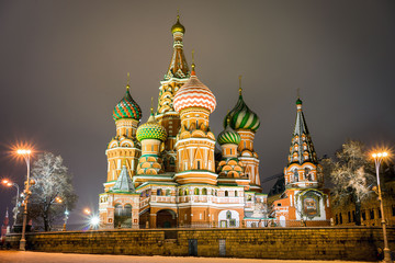 Fototapete - St. Basil's Cathedral at the evening, Russia, Moscow