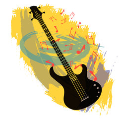 Abstract vector background with bass guitar