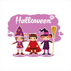 flat Halloween kids