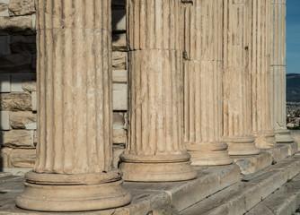 Ionic columns on the Erechtheion atop the Athens Acropolis in Greece