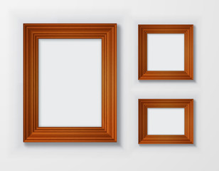 Set classic wooden frames on white background