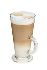 cappuccino in tall cup with milk foam